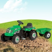 Tractor Cu Pedale Si Remorca Copii SMOBY 33329 Verde